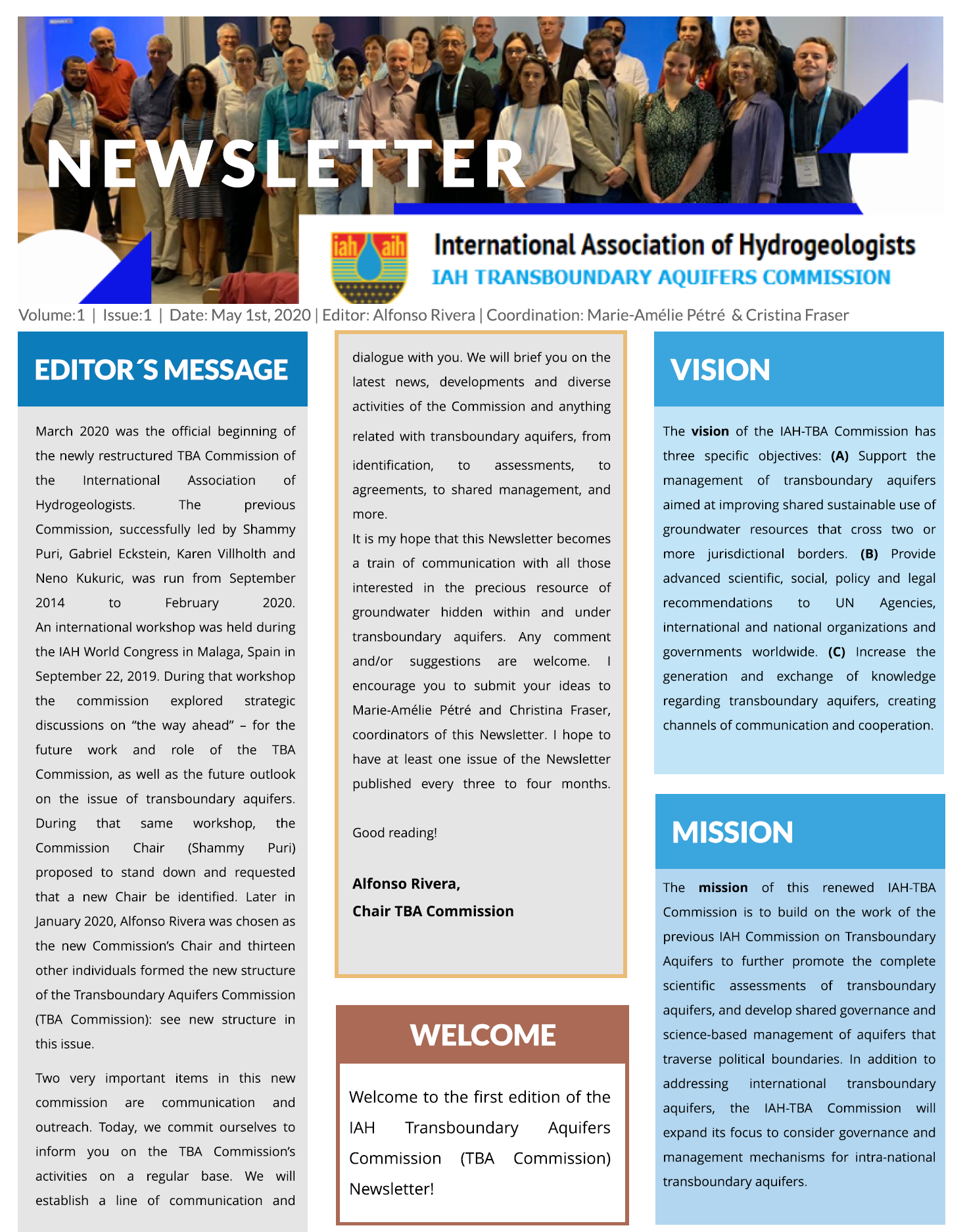IAH-TBA Newsletter: Volume 1, Issue 1