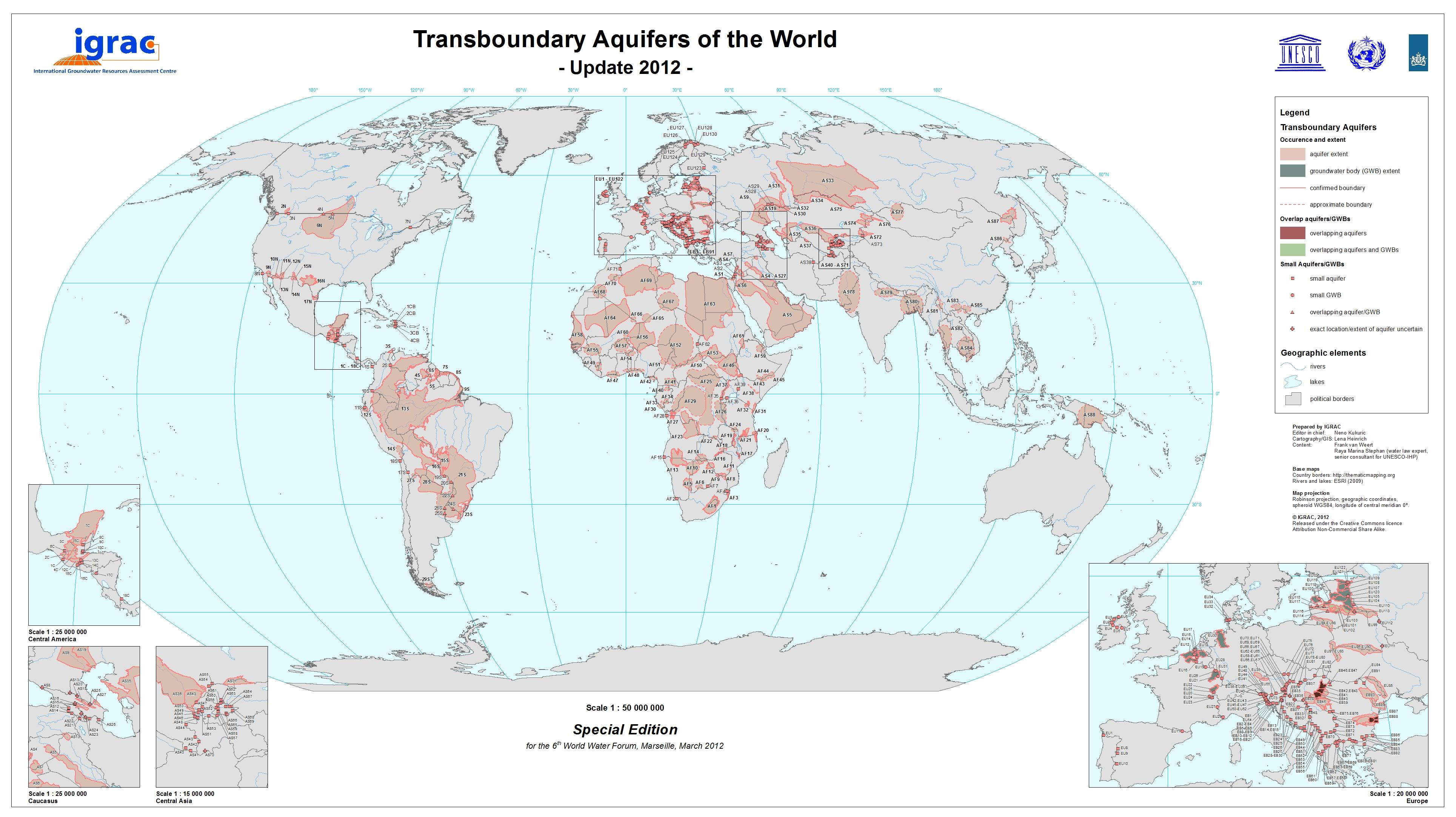 Transboundary Aquifers of the World Map 2012